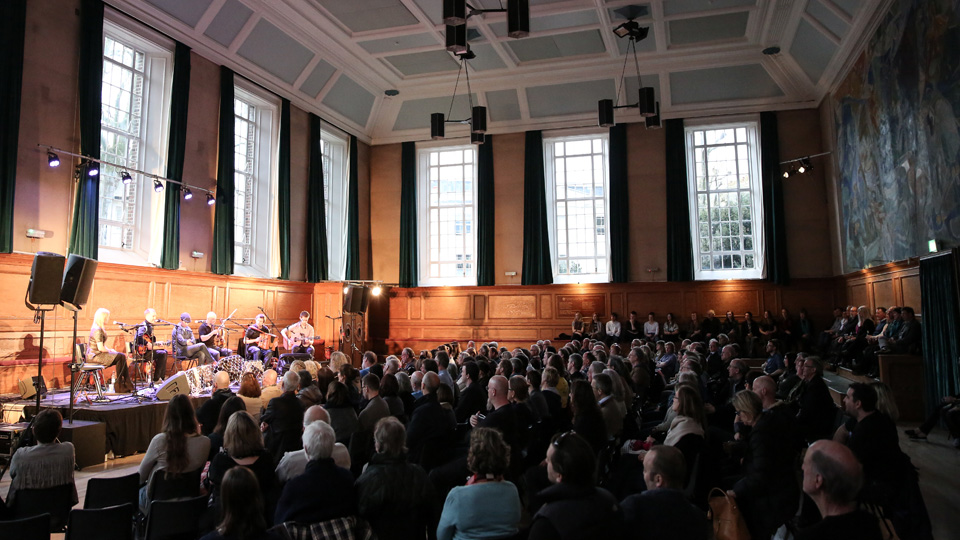 Busy gig in Kennedy Hall